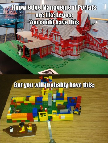 Knowledge Management portal are like Legos. (Credits: Dan Hauck @Dan_Hauck)